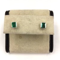 Vintage Sterling silver Colombian Emerald Earrings Hand Made pierced