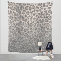 Shimmer (Snow Leopard Glitter Abstract) Wall Tapestry by Soaring Anchor Designs