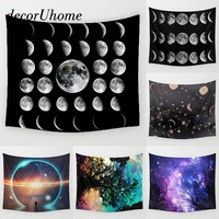 DecorUhome Fantasy Decoration Round Towel Space Moon Plant Star Wall Carpet Home Decor Hanging Living Printing Wall Tapestry