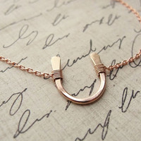 Lucky rose gold horseshoe necklace on rose gold chain - pink gold necklace