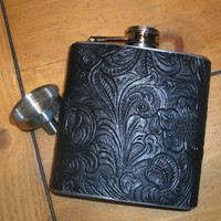 Stainless Steel Hip Flask...6 oz. Black Vinyl Floral Pattern