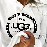 UGG Newest Fashionable Women Casual Long Sleeve Top Pants Two-Piece Sportswear White