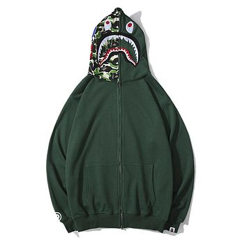 BAPE sells casual couple hoodies shark embroidery camouflage patchwork hats zipper jackets Dark Green