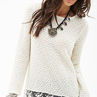 FOREVER 21 Loop Yarn Lace Sweater Cream