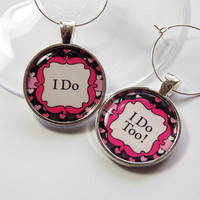 Wedding Wine Charms, Wine Charms, black, pink, Wedding Shower, Bridal Shower, table setting, silver plate, I do (2721)