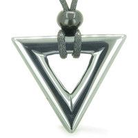 Amulet Triangle Protection Powers Hematite Arrowhead Courage Energies Pendant Necklace