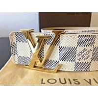 Authentic Louis Vuitton 'INITIALES' LV damiere azure belt size 34 RRP $595 AUD