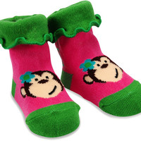 Pink and Green Monkey Socks