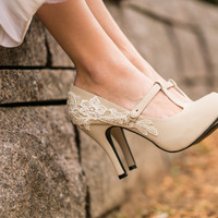Beige Bridal Shoes - Bridal Heels, Wedding Shoes, Mary Jane Shoes, Wedding Heels, Pumps, Beige Heels, Shoes with Ivory Lace. US Size 7.5
