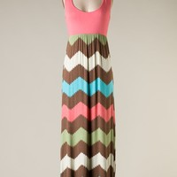 Brown and Pink Chevron Maxi Dress