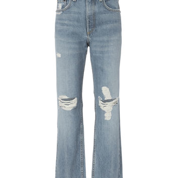 Shaker High-Rise Cropped Straight Jeans