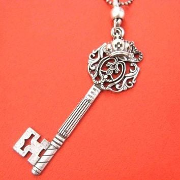 Skeleton Key Pendant with Decorative Crown Detail Necklace in Silver