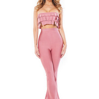 Alvy Bandage Two Piece Trouser Bandage Set- Rose Pink