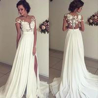 Vintage Chiffon Beach Wedding Dress Summer White Cap Sleeves V Neckline Fitted Split Boho Wedding Dress 2017 Robe De Mariage
