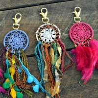 Artisan Crafted Fabric Dreamcatcher Keychain