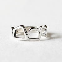 925 Sterling Silver Squares Geomatric Statement Ring