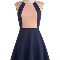 ModCloth Colorblocking Mid-length Sleeveless A-line Staying in Step Dress