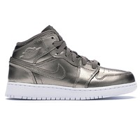 Air Jordan 1 Mid SE (GS) Sepia Stone/White/Noble Red Big Kids AV5174 200