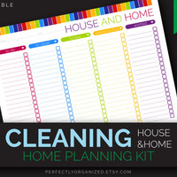 Clean Home Checklist, Cleaning To Do List, Cleaning Schedule || Editable DIY Colorful Planner Binder Organizer || Household PDF Printables