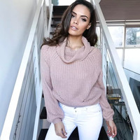 Pink Turtleneck Knitted Sweater