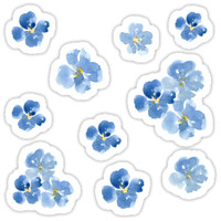 'Little Blue Flowers ~ Stickers' Sticker by ApricotBlossom
