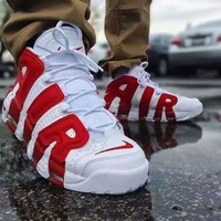 Nike Air More Uptempo White x Red Fashion and leisure sports shoes