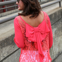 Lace & Bows Blouse {Coral}