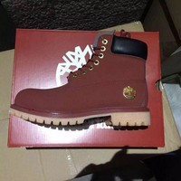 PEAPGE2 Fashion Online Timberland Rhubarb Boots 10061 2017 Yellow For Women Men Shoes Waterproof Martin Boots
