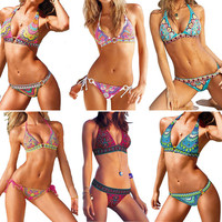 2014 Newest Fashion Indiana Totem Bandeau Padded Bikini Set Boho Style Sexy Women Beachwear Swimsuit 6 Colors 3 Size