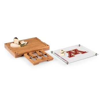 Minnesota Golden Gophers - Concerto Glass Top Cheese Cutting Board & Tools Set, (Bamboo)