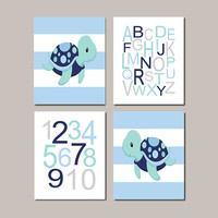 Baby Boy Nursery Boy Nursery Decor Turtle Sea Life Sea Animals Alphabet Numbers Set of 4 Prints Boy Nautical Nursery Wall Art Ocean Beach