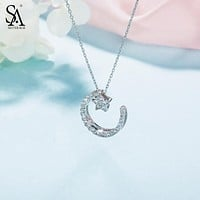 SA SILVERAGE 925 Sterling Silver Moon Star Pendant Necklace With Rhinestones Chokers Necklaces For Women Genuine Silver Jewelry