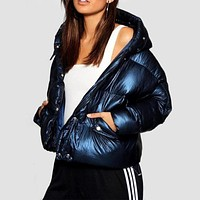 Stylish Hooded Metallic Puffer Jacket