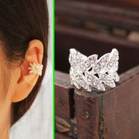 Harvest Leaves Rhinestone Ear Cuff (Single, No Piercing) - LilyFair Jewelry