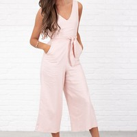 In My Heart Wrap Around Cropped Jumpsuit (Pink)