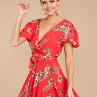 Taking My Time Red Floral Print Dress