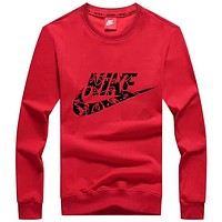 NIKE 2018 autumn new couple bottoming shirt long sleeve round neck sweater Red