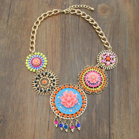 Lux Crystal flower Statement Necklace
