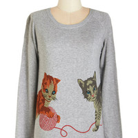 Bea & Dot Cats Mid-length Long Sleeve Cats But Not Least Sweater