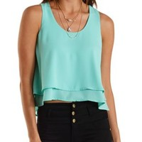 Green Layered Flyaway Swing Tank Top by Charlotte Russe