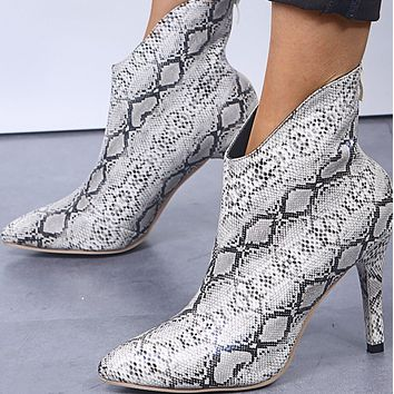 Explosive sexy snake print high-heeled fashion stiletto pointed ankle boots shoes