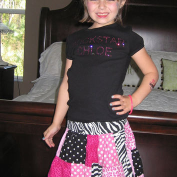 Rockstar Rhinestone Name Shirt for Girls, Personalized with Swarovski Rhinestones, Custom made for baby, toddler and girl