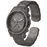 Charming gunmetal Boyfriend Cuff/Bangle Watch With Classic Round CZ and Stainless steel Back