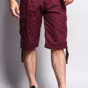 Solid Color Ripstop Belted Cargo Shorts