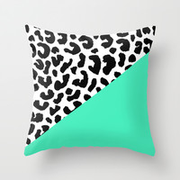 LEOPARD + MINT Throw Pillow by Rebecca Allen