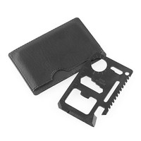 10-in-1 Outdoor Hunting Survival Camping Pocket Military Credit Card Tool - Black