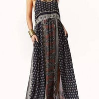 Spaghetti Strap Front Split Bohemian Maxi Dress in Violet not available