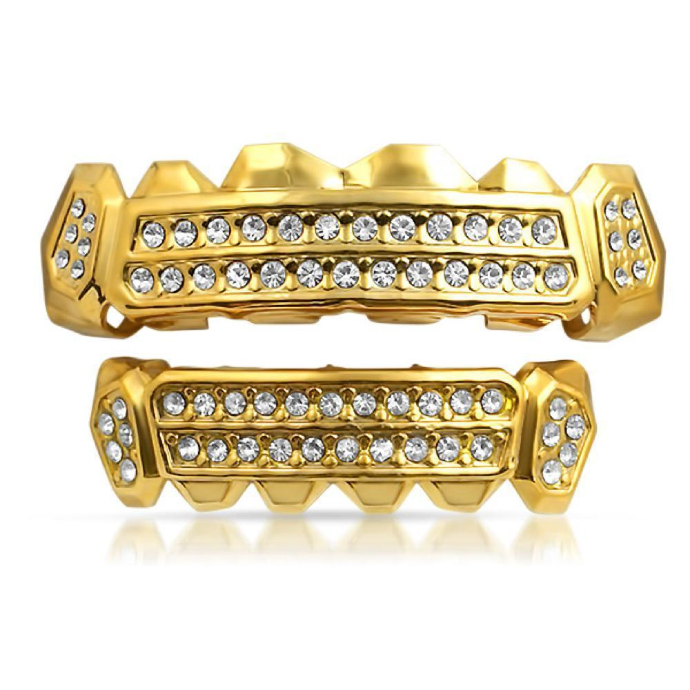 Image of Customized Grillz Gold Teeth Top Bottom Set