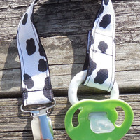 Cow Spots Ribbon, Black Pacifier Holder, Binky Clip, Pacifier Clip or Toy Clip
