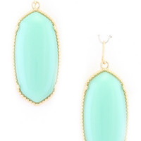 Oval Drop Earrings - Mint
